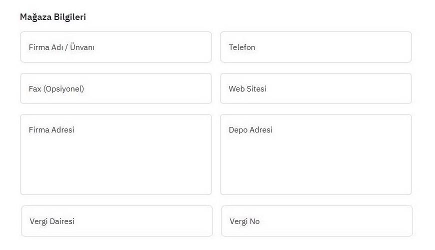 ePttAVM'de mağaza açmak için Mağaza Aç formu aşamalarından Mağaza Bilgileri ekran görüntüsü