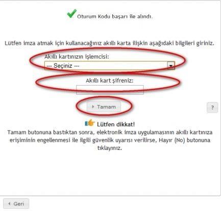 GİB portale giriş için akıllı kart tanımlama ekran görüntüsü
