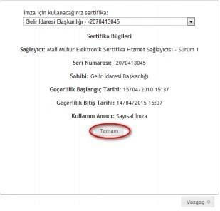 GİB portale giriş için mali mühür / elektronik imza sertifikası seçimi ekran görüntüsü