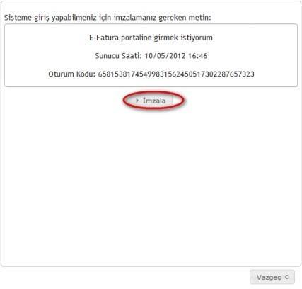 GİB portale giriş için malü mühür / elektronik imza ile imzalama ekran görüntüsü