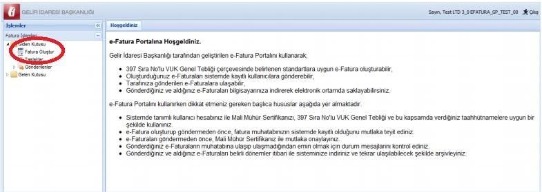 GİB portal e-fatura portali ekranından fatura oluştur menü başlığı ekran görüntüsü