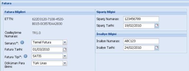 GİB portal üzerinden e-fatura oluşturmak için fatura bilgileri formu ekran görüntüsü