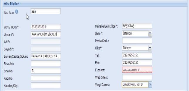 GİB portal üzerinden e-fatura oluşturmak için alıcı bilgileri formu ekran görüntüsü