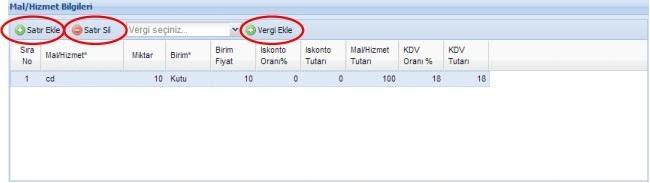 GİB portal üzerinden e-fatura oluşturmak için mal / hizmet bilgileri formu ekran görüntüsü