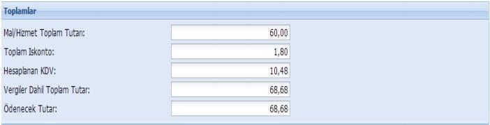 GİB portal üzerinden e-fatura oluşturmak için toplamlar formu ekran görüntüsü