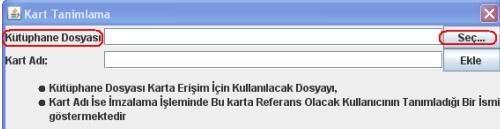 GİB portal üzerinden e-faturaya mali mühür eklemek için kart girişi için kart tanımlama formu ekran görüntüsü