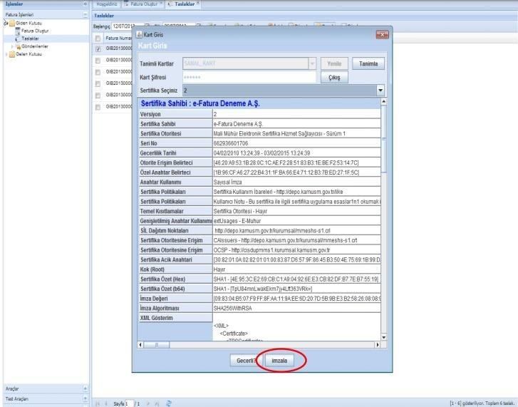 GİB portal üzerinden e-faturaya mali mühür eklemek için kart tanımlama sırasında kart bilgilerini inceleyip, kartı ekleme ekran görüntüsü