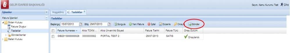 GİB portal üzerinden e-fatura-gönderimi listelenen taslak faturaları gönderme ekran görüntüsü