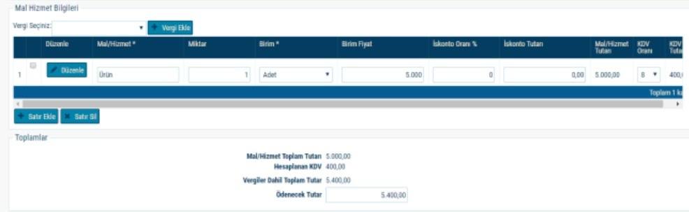 GİB portal üzerinden e-arşiv fatura kesimi için mal / hizmet bilgileri ekran görüntüsü