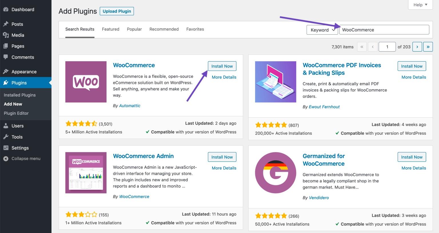 WordPress yönetim paneli eklentiler sayfası WooCommerce eklenti ekran görüntüsü