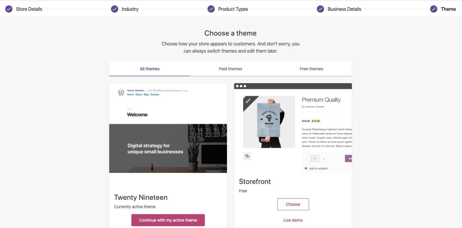 WordPress yönetim paneli WooCommerce Tema seçim formu ekran görüntüsü