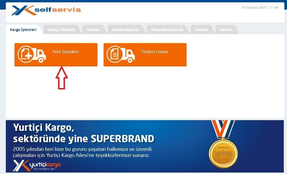 kargo firmalarından Yurtiçi Kargo panelinde barkod oluşturma sürecinde Yeni Gönderi butonu ekran görüntüsü