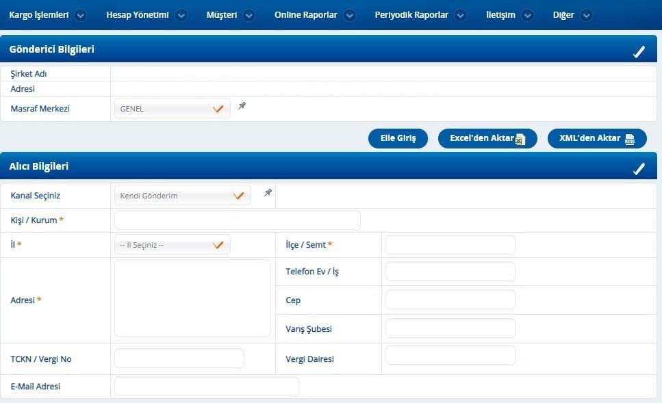 kargo firmalarından Yurtiçi Kargo panelinde barkod oluşturma sürecinde Gönderici ve Alıcı Bilgileri formu ekran görüntüsü