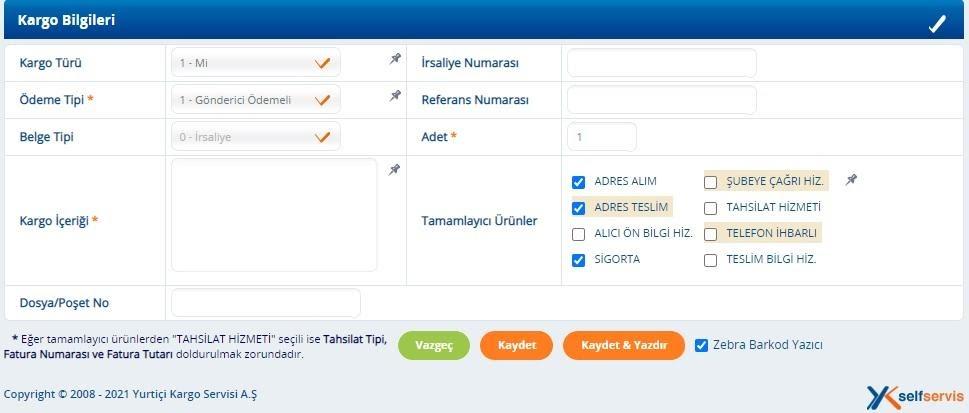 kargo firmalarından Yurtiçi Kargo panelinde barkod oluşturma sürecinde Kargo Bilgileri formu ekran görüntüsü