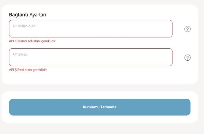 Yengeç'in kargo entegrasyonu ile kargo firmalarından Yurtiçi Kargo için entegrasyon ekleme sürecinde Bağlantı Ayarları formu ekran görüntüsü