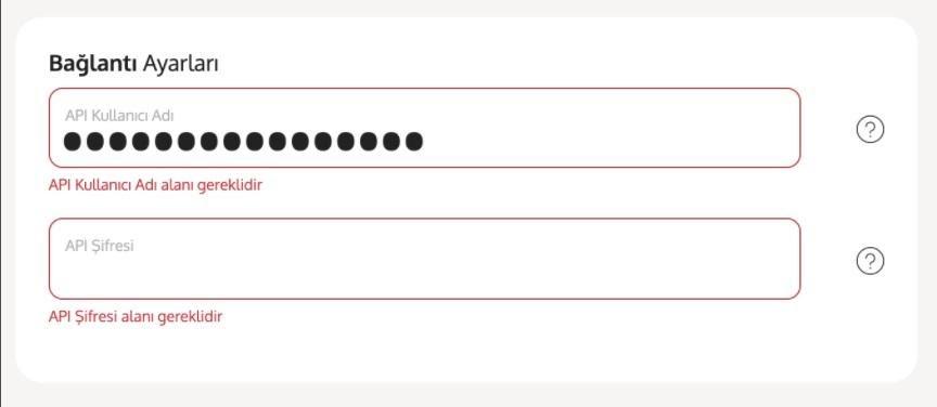 Yengeç'in kargo entegrasyonu ile kargo firmalarından Yurtiçi Kargo için entegrasyon ekleme sürecinde Bağlantı Ayarları formuna ilgili bilgilerin girişi ekran görüntüsü