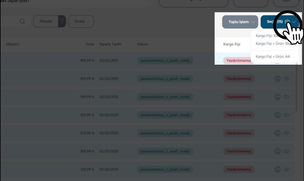 Yengeç'in kargo entegrasyonu ile kargo firmalarından Yurtiçi Kargo için entegrasyon ekleme sürecinde sipariş listesinde seçili siparişler için kargo fişi çıktısı alma seçenekleri ekran görüntüsü