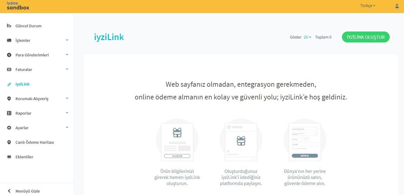 link ile ödeme alma için iyzico panelinden link oluşturma adımlarından iyziLink menü başlığı