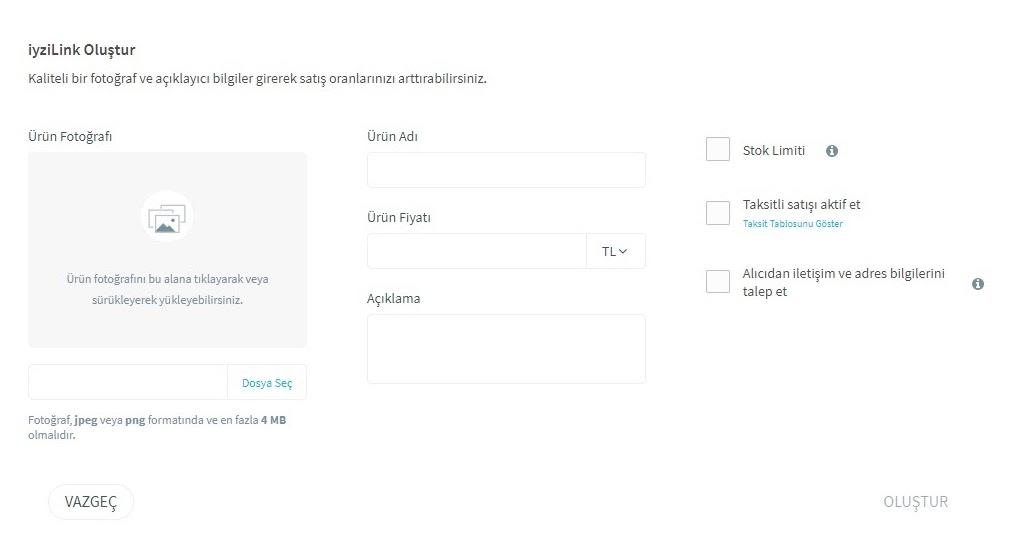 link ile ödeme alma için iyzico panelinden link oluşturma adımlarından iyziLink Oluştur formu ekran görüntüsü