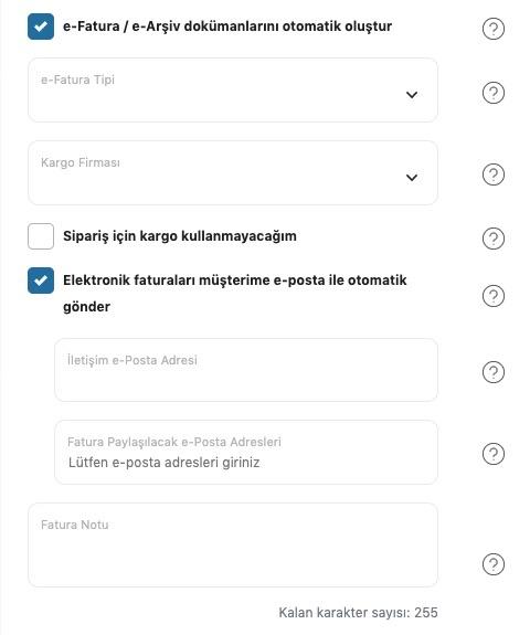 Yengeç üzerinde oluşturulan entegrasyonun genel ayarlar formunda otomatik e-fatura, e-arşiv özelliği açıldığındaki ek ayarların ekran görüntüsü