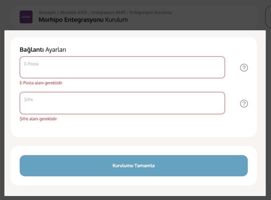 Morhipo mağazası için Yengeç entegrasyonu bağlantı ayarları ekran görüntüsü