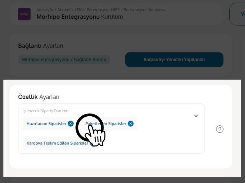 Morhipo mağazası için Yengeç entegrasyonu özellik ayarları ekran görüntüsü