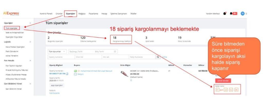 AliExpress'te mağaza sipariş ürünlerini kargolama kargolamayı bekleyen siparişler ekran görüntüsü