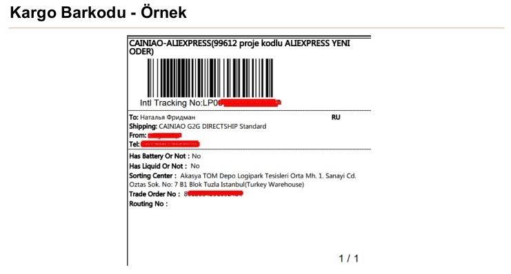 AliExpress'te mağaza sipariş ürünlerini kargolama kargo barkodu oluşturmak kargo barkodlu örnek ekran görüntüsü