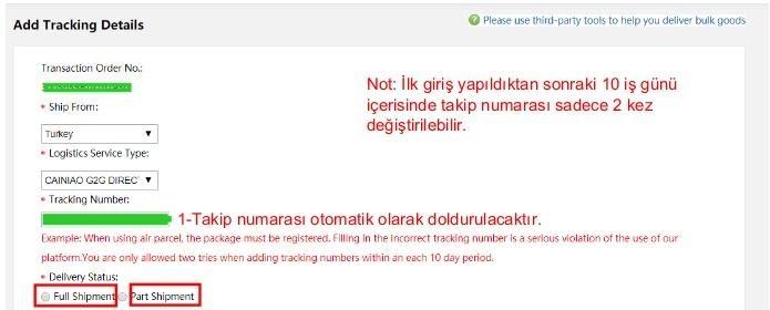 AliExpress'te mağaza sipariş ürünlerini kargolama kargo barkodu teslimat bildirimi ekleme ekran görüntüsü