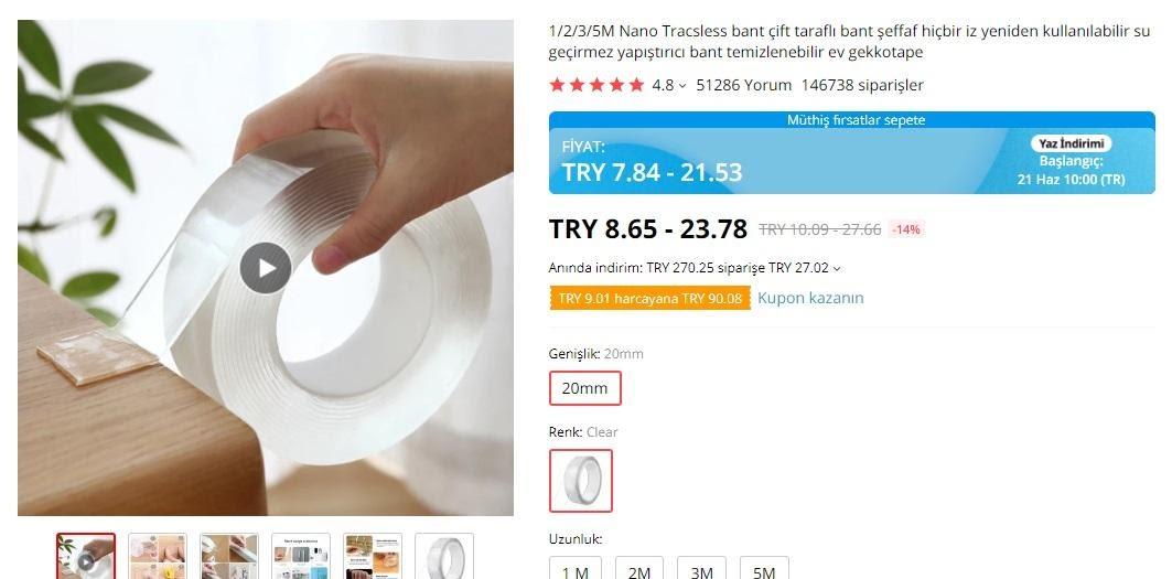 AliExpress'te mağaza popüler ürünler transparan bant ekran görüntüsü