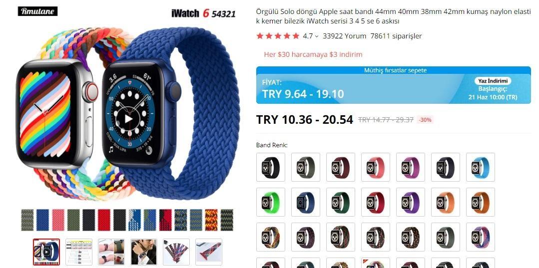AliExpress'te mağaza popüler ürünler Apple Watch kayışları ekran görüntüsü