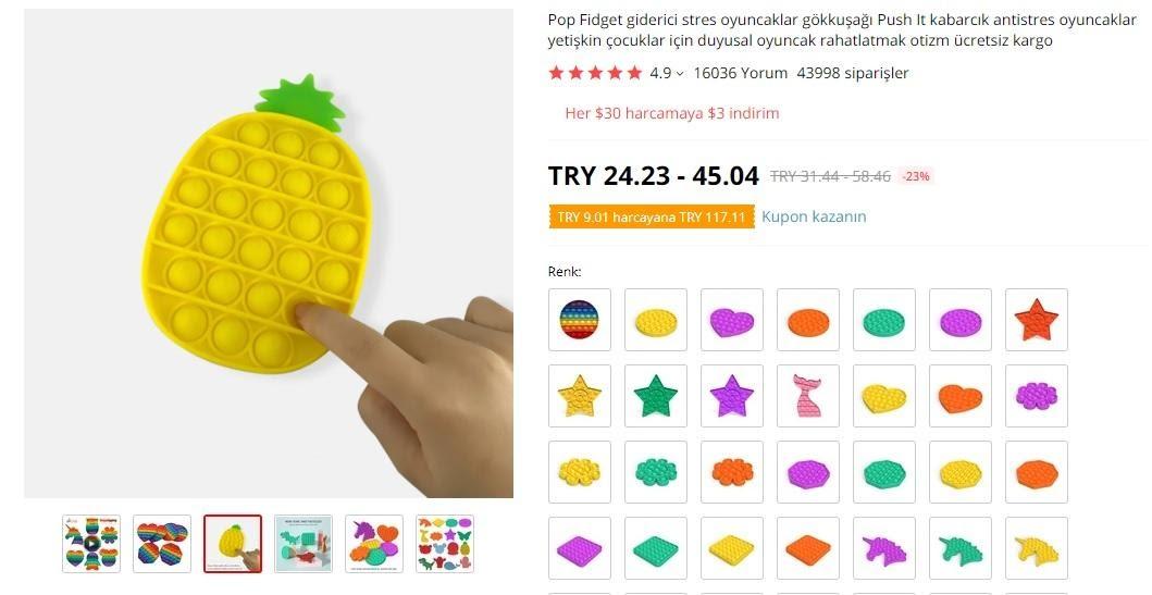 AliExpress'te mağaza popüler ürünler stres giderici oyuncak ekran görüntüsü