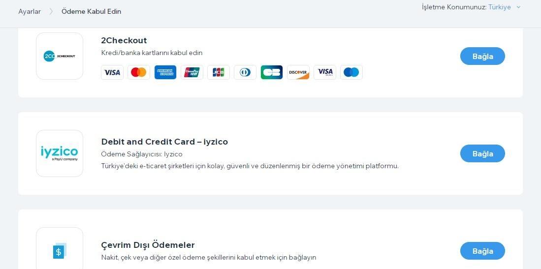 Wix'te e-ticaret sitesi oluşturma adımlarından ödeme yöntemini seçme ekran görüntüsü