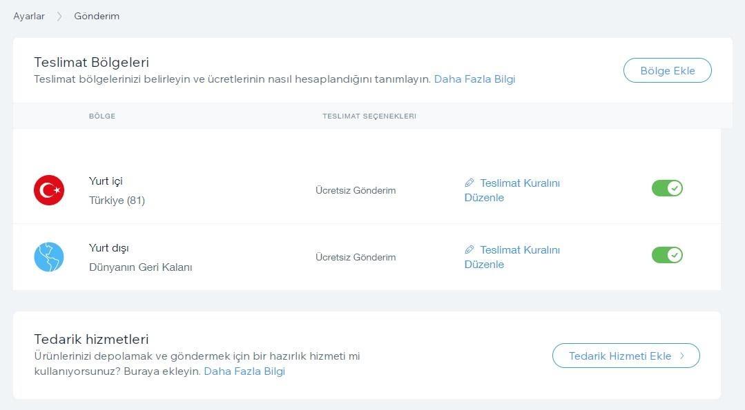 Wix'te e-ticaret sitesi oluşturma adımlarından dağıtım bölgelerini belirleme ekran görüntüsü