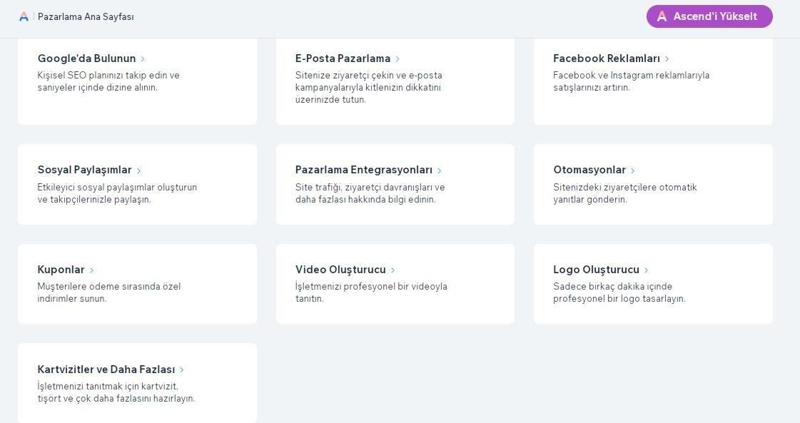 Wix'te e-ticaret sitesi oluşturma adımlarından reklam ve pazarlama ekran görüntüsü