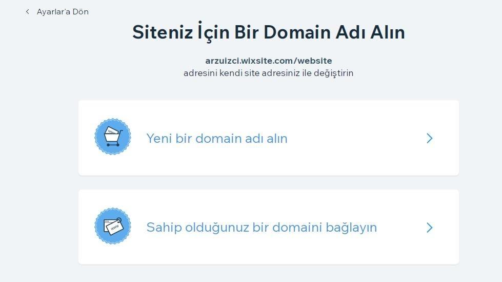 Wix'te e-ticaret sitesi oluşturma adımlarından alan adı alma ekran görüntüsü