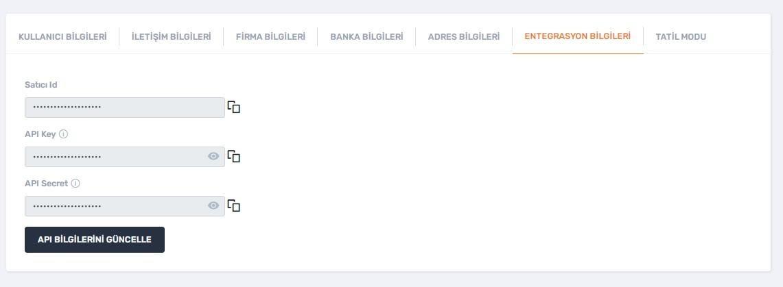 API bilgileri Trendyol'da nasıl alınır aşamalarından api key api secret bilgileri ekran görüntüsü