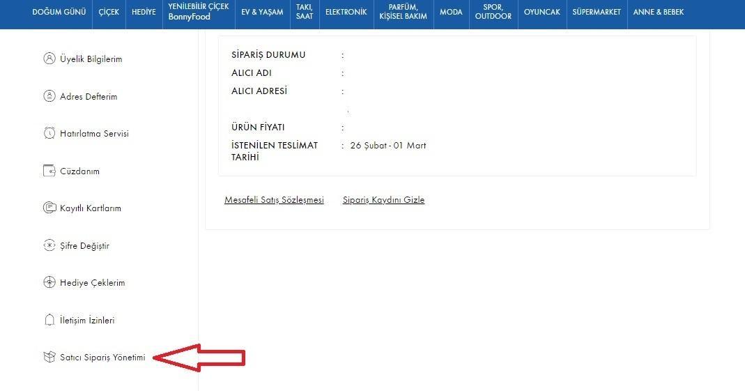 API bilgileri ÇiçekSepeti'nde nasıl alınır aşamalarından Satıcı Sipariş Yönetimi menü başlığı ekran görüntüsü