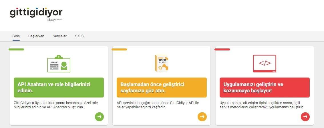 API bilgileri GittiGidiyor'da nasıl alınır aşamalarından API paneli ekran görüntüsü