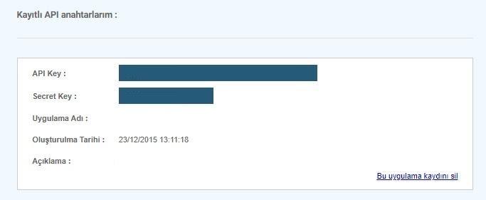 API bilgileri GittiGidiyor'da nasıl alınır aşamalarından API bilgileri ekran görüntüsü