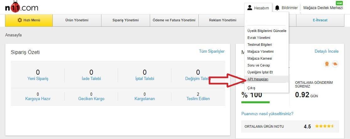 API bilgileri N11'de nasıl alınır aşamalarından Hesabım > API Hesapları menü başlığı ekran görüntüsü