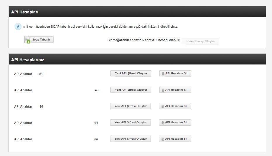 API bilgileri N11'de nasıl alınır aşamalarından API Hesapları ekran görüntüsü