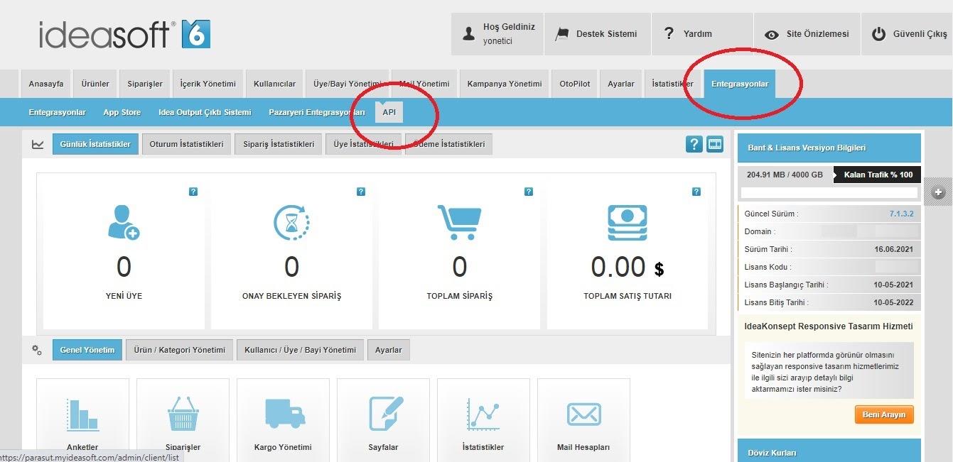 API bilgileri IdeaSoft'ta nasıl alınır aşamalarından Entegrasyonlar > API menü başlığı ekran görüntüsü