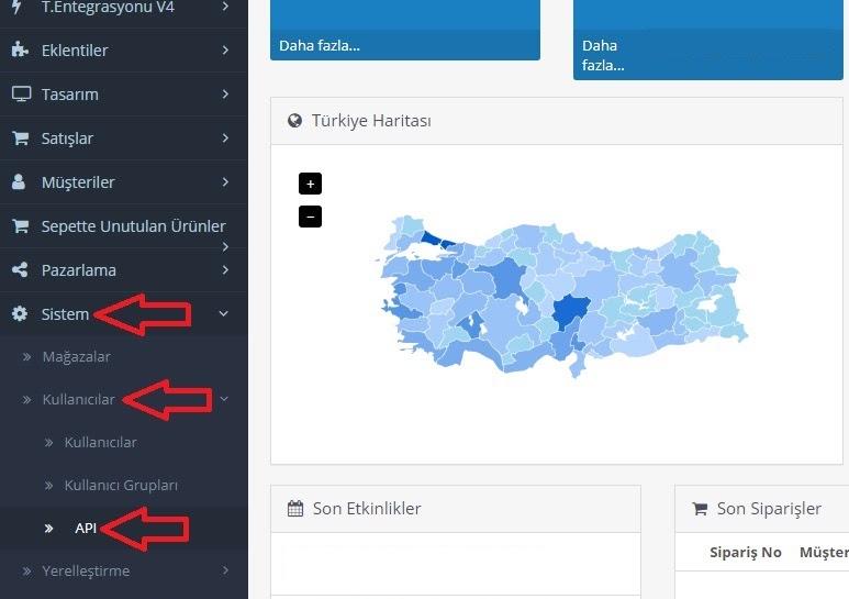 API bilgileri OpenCart'ta nasıl alınır aşamalarından Sistem > Kullanıcılar > API menü başlığı ekran görüntüsü