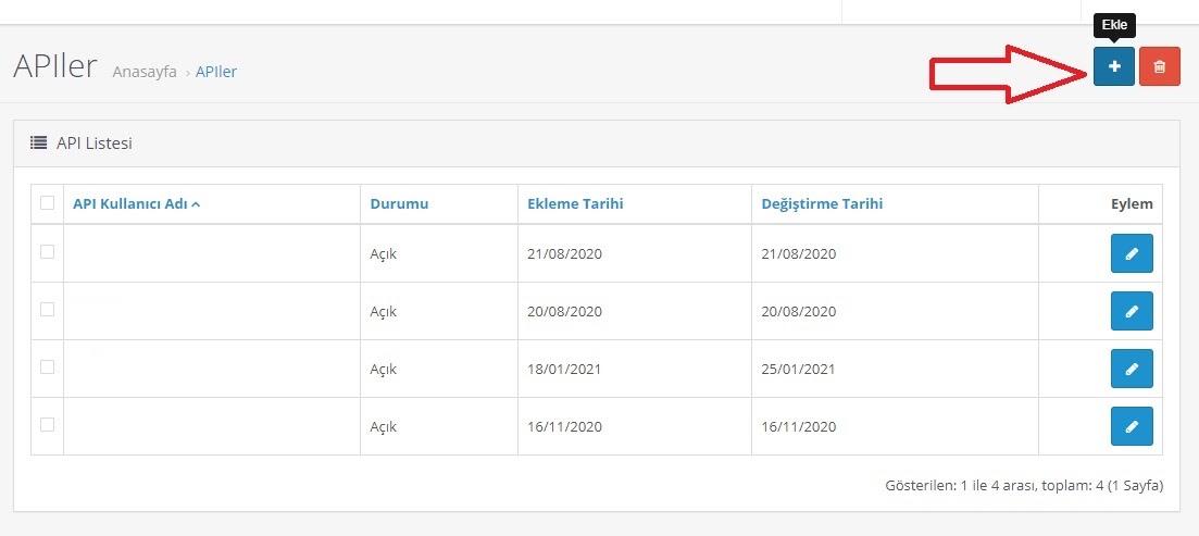 API bilgileri OpenCart'ta nasıl alınır aşamalarından APIlere ekleme ekran görüntüsü