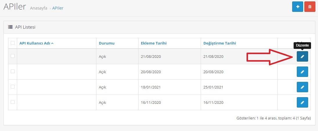 API bilgileri OpenCart'ta nasıl alınır aşamalarından API Listesi ekran görüntüsü