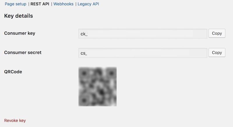 API bilgileri WooCommerce'te nasıl alınır aşamalarından Rest API Consumer Key ve Consumer Secret ekran görüntüsü
