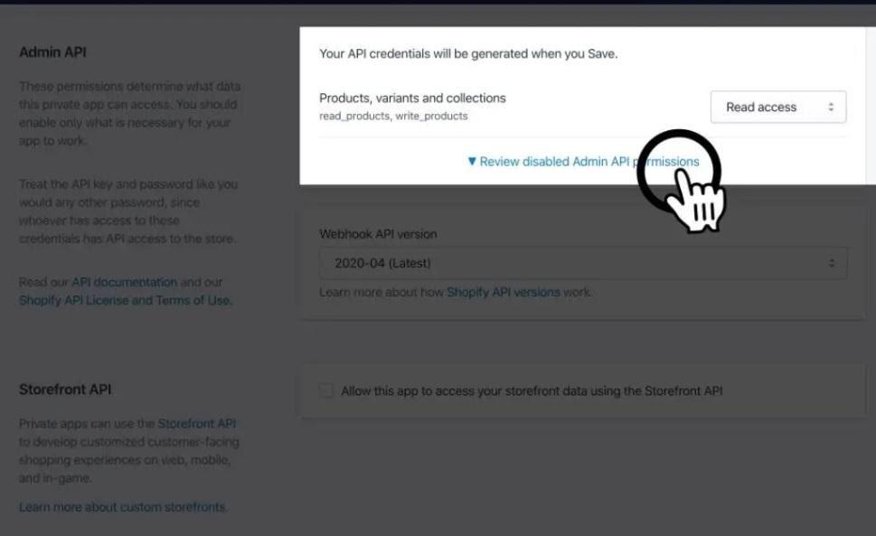 API bilgileri Shopify'da nasıl alınır aşamalarından Admin API Read Access ekran görüntüsü