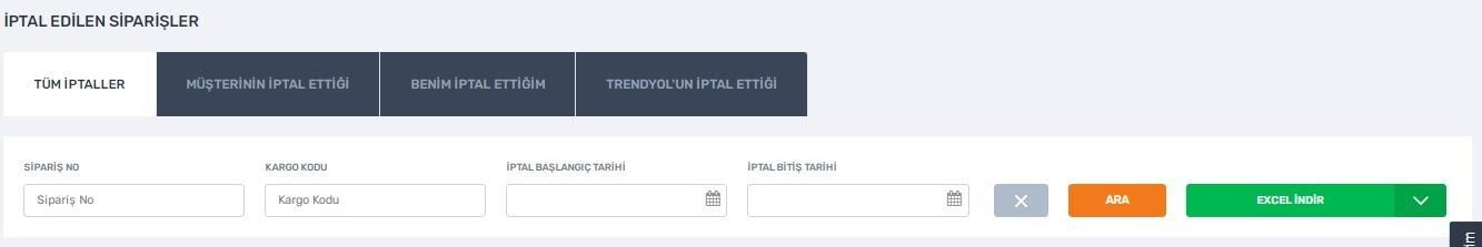 pazaryerlerinde iptal ve iade politikalarından Trendyol'da iptal edilen siparişler ekran görüntüsü