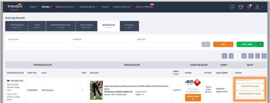 pazaryerlerinde iptal ve iade politikalarından Trendyol'da iade işlemlerinden Reddedilenler statüsü ekran görüntüsü